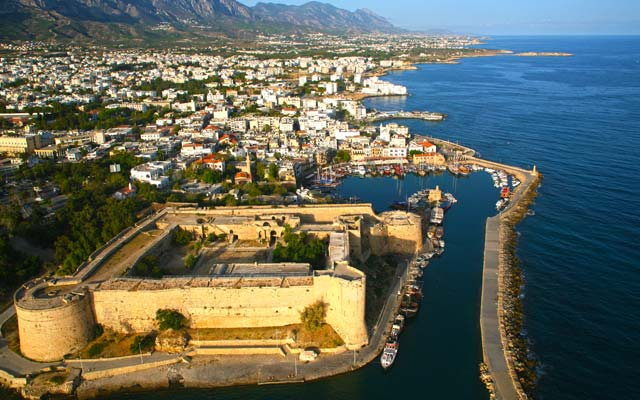 Kyrenia coastline from the sky