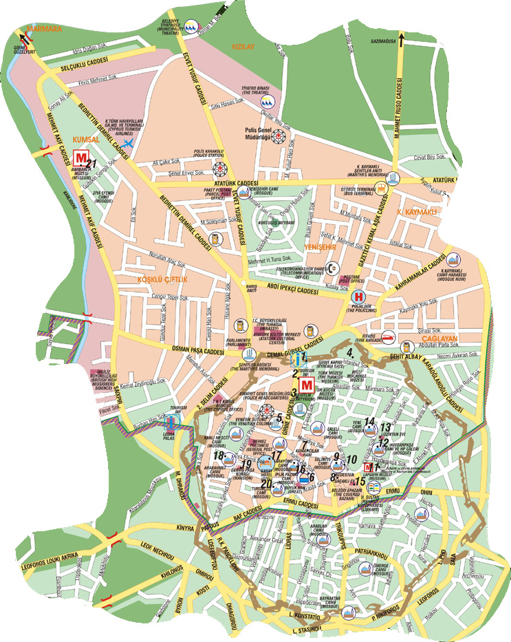 Northern Cyprus Map Road Map Of North Cyprus Tourist City Maps - Northern cyprus map