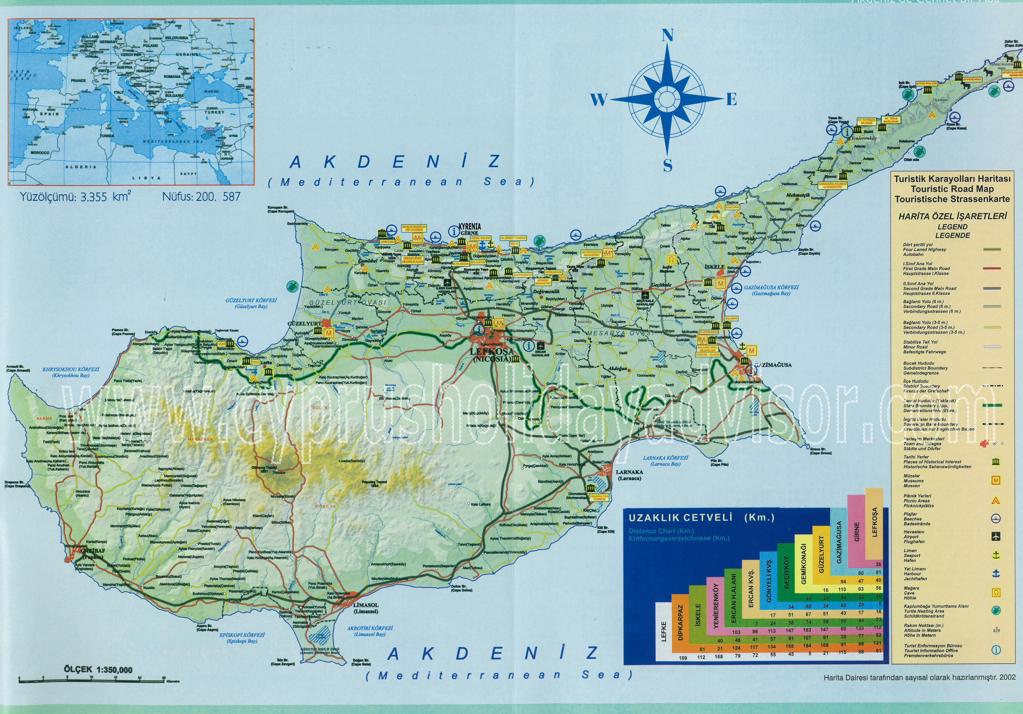 Cipar Karta Cipra Autokarta Zemljovid Gorila