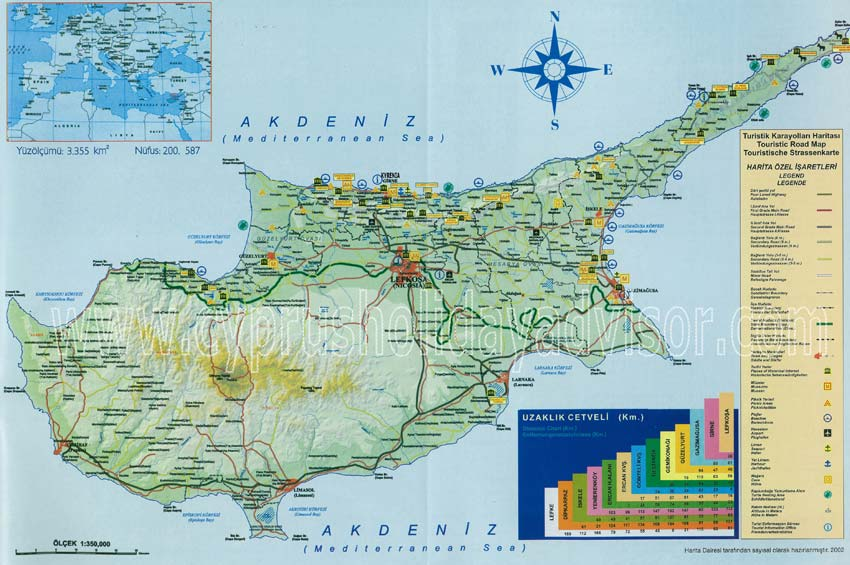 Road map of North Cyprus